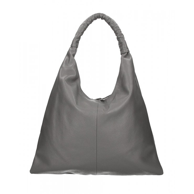 Leather shoulder bag 139 dark gray MADE IN ITALY