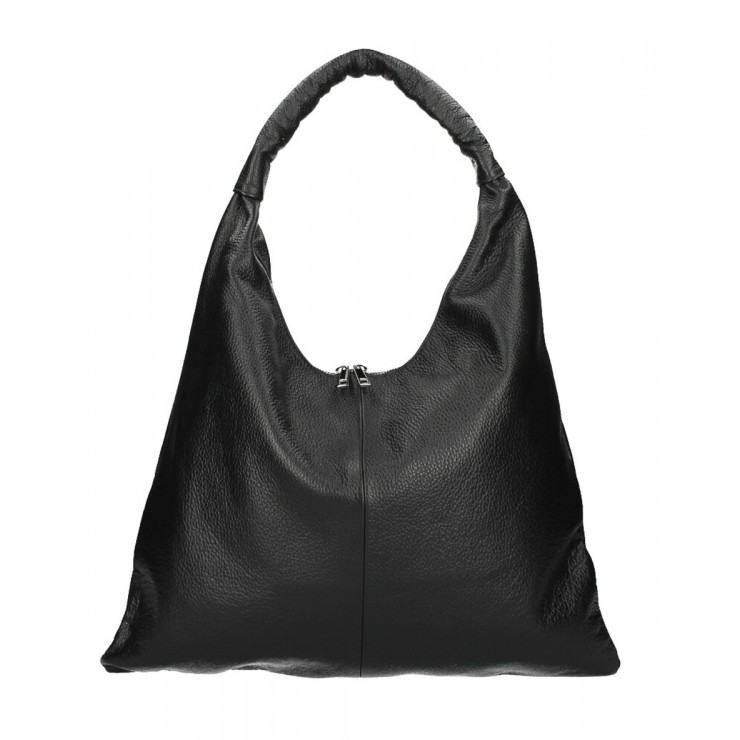 Leather shoulder bag 139 black MADE IN ITALY