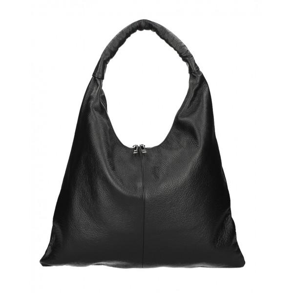 Kožená kabelka na rameno 139 čierna MADE IN ITALY Čierna