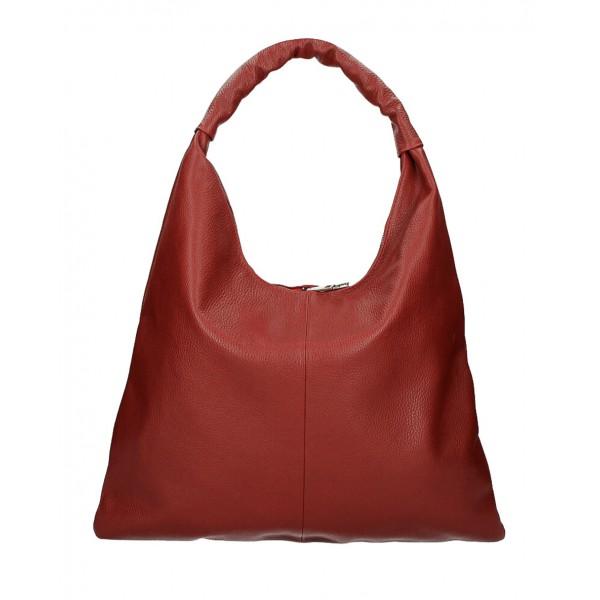 Kožená kabelka na rameno 139 tmavočervená MADE IN ITALY Červená