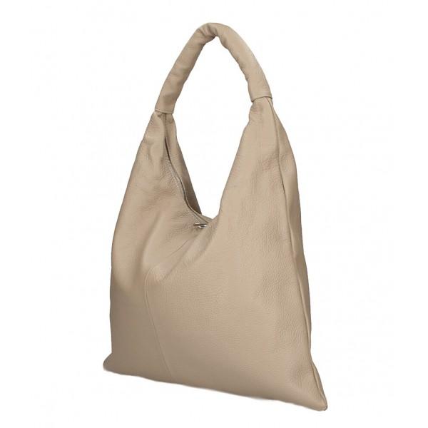 Kožená kabelka na rameno 139 šedohnedá MADE IN ITALY Šedohnedá