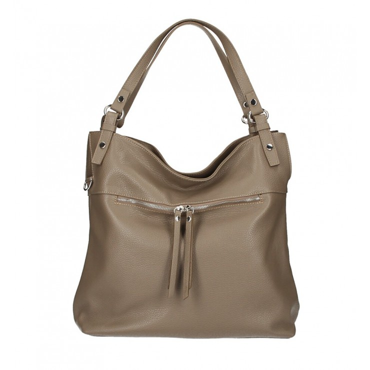 Leather shoulder bag 640 dark taupe MADE IN ITALY