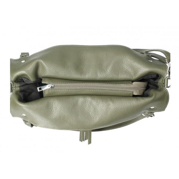 Kožená kabelka na rameno 640 tmavo šedohnedá MADE IN ITALY Šedohnedá