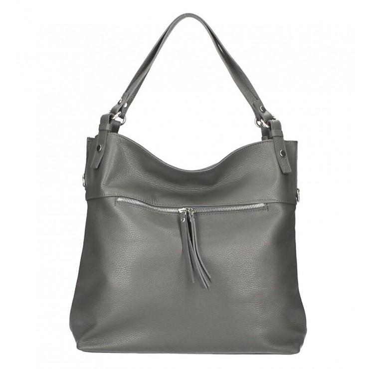 Leather shoulder bag 640 dark gray MADE IN ITALY