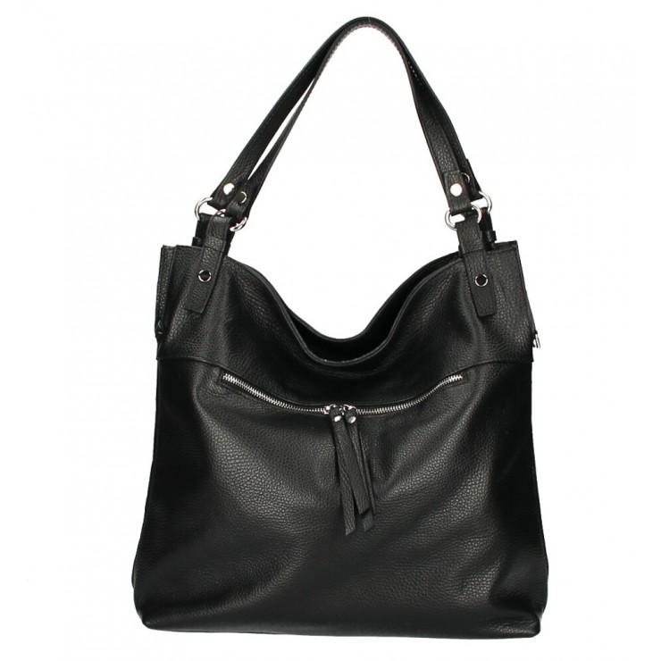 Leather shoulder bag 640 black MADE IN ITALY