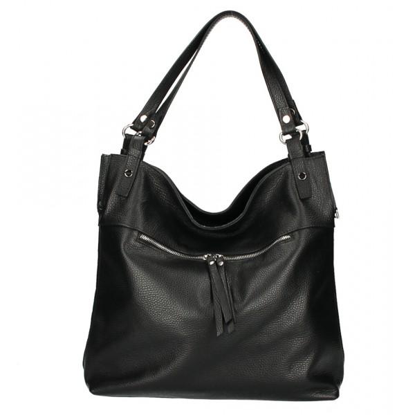 Kožená kabelka na rameno 640 čierna MADE IN ITALY Čierna