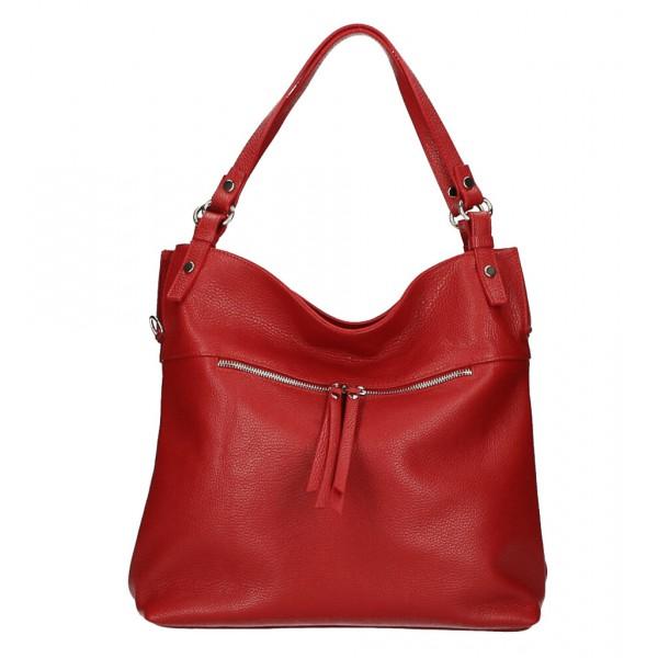 Kožená kabelka na rameno 640 červená MADE IN ITALY Červená