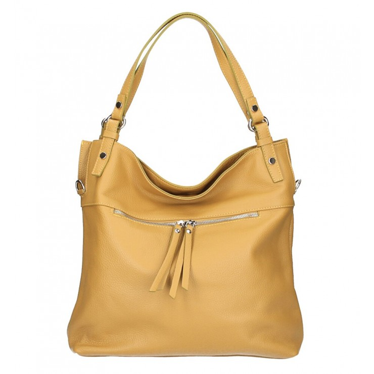 Leather shoulder bag 640 mustard MADE IN ITALY