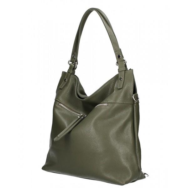 Kožená kabelka na rameno 640 vojensky zelená MADE IN ITALY Zelená