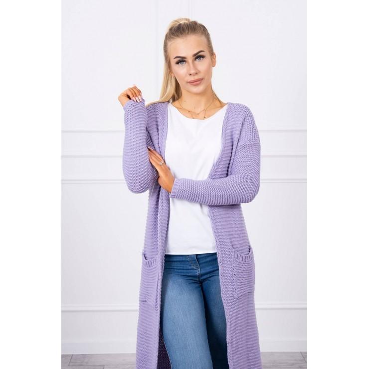 Dámsky sveter dlhý kardigán s vreckami MI2019-20 fialový
