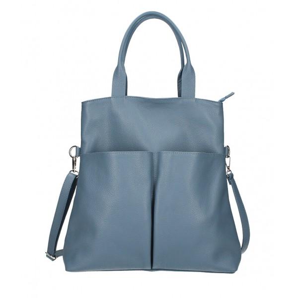 Kožená kabelka 277 blankytne modrá Made in Italy Blankytna modrá