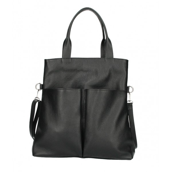 Kožená kabelka 277 čierna Made in Italy Čierna