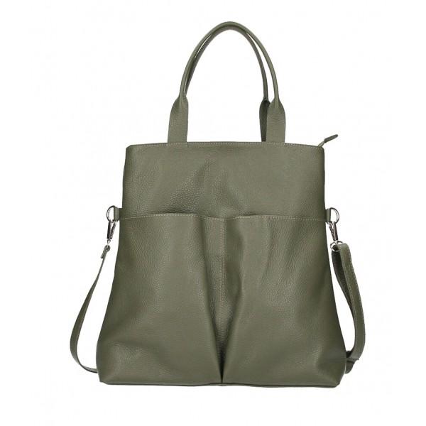 Kožená kabelka 277 vojensky zelená Made in Italy Zelená