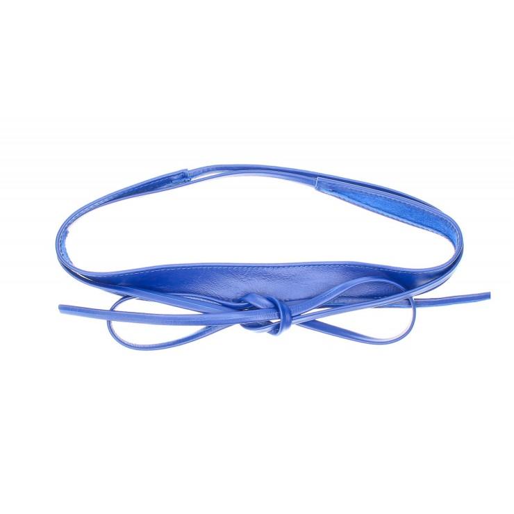 Genuine Leather sash belt 276 azure blue Made in Italy