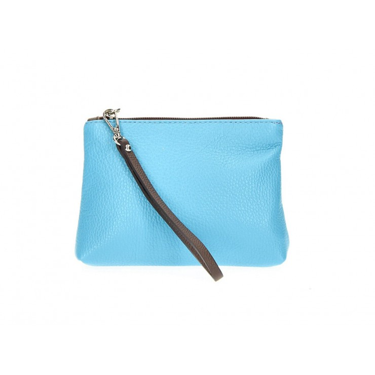 Leather Pouch 285 light blue Made in Italy