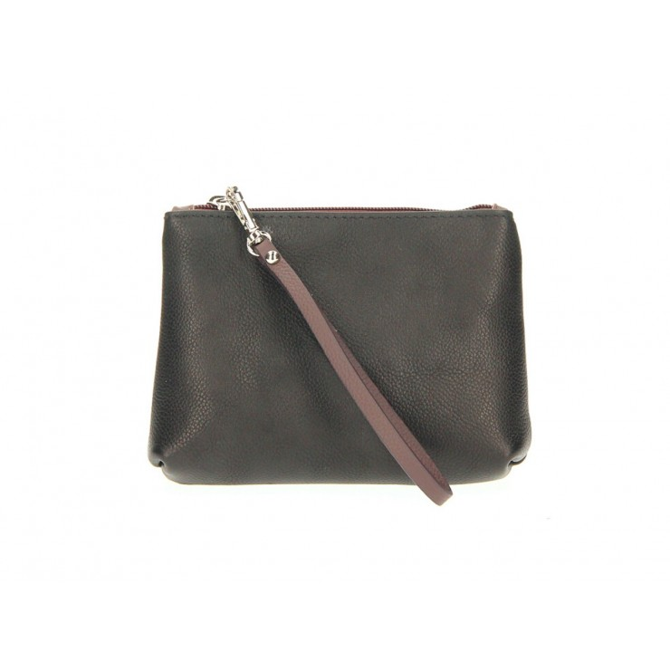 Leather Pouch 285 black Made in Italy