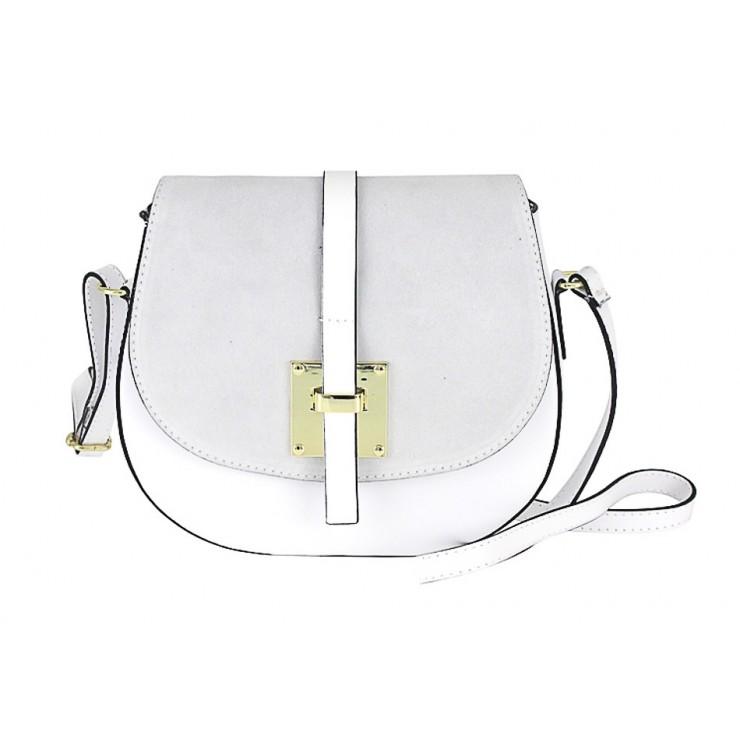 Genuine Leather Shoulder Bag 942 white