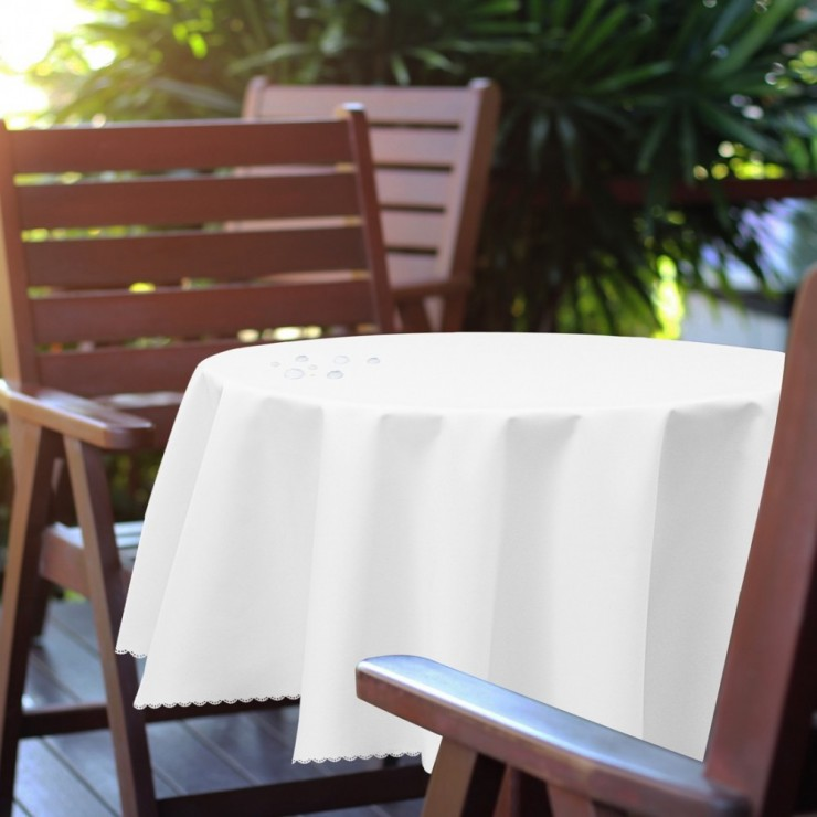 Round garden tablecloth 288 white