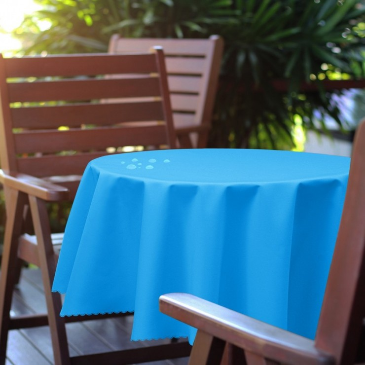Round garden tablecloth 288 light blue