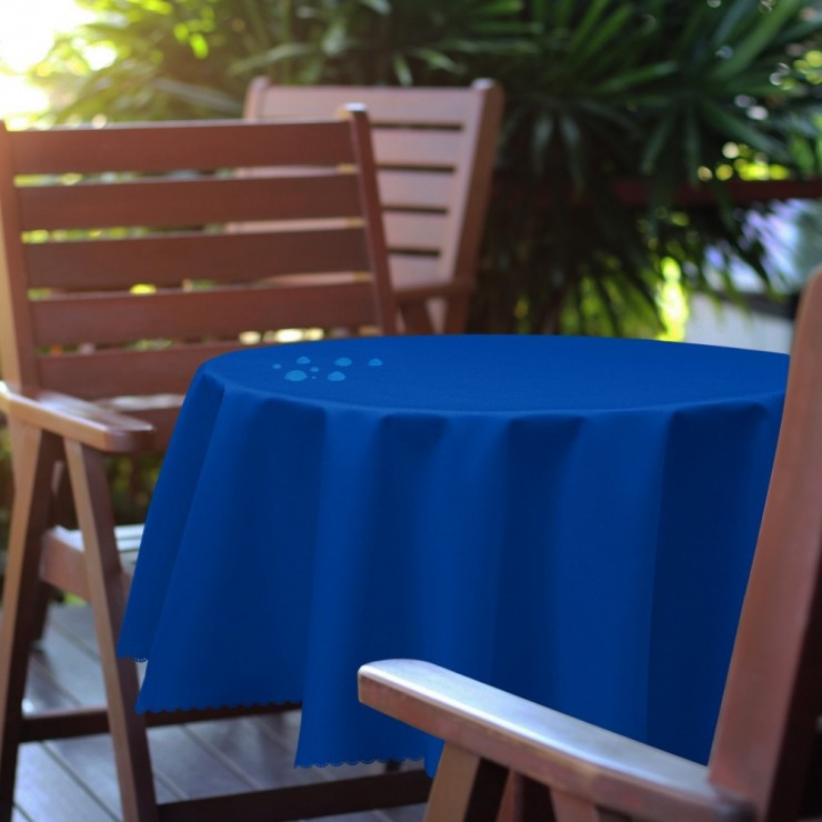 Round garden tablecloth 288 azure blue