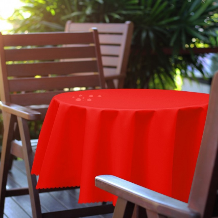 Round garden tablecloth 288 light red