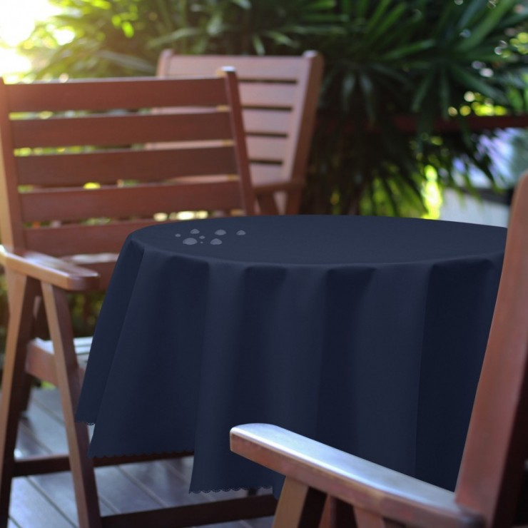 Round garden tablecloth 288 dark blue