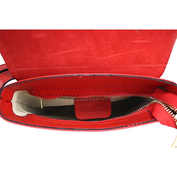 Kožená kabelka na rameno 942 strieborná Strieborná