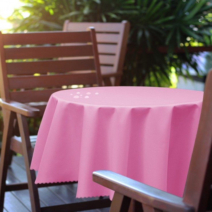 Round garden tablecloth 288 light pink