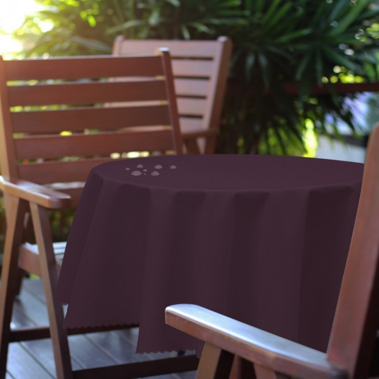 Round garden tablecloth 288 dark plum