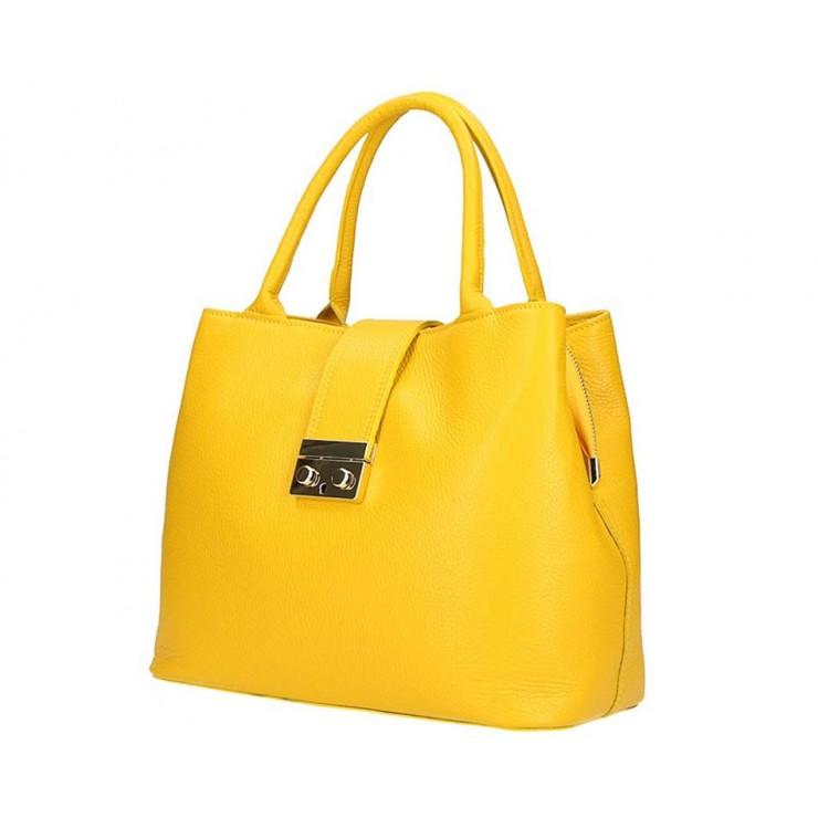 Žltá kožená kabelka 5307