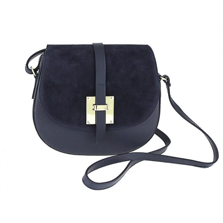 Genuine Leather Shoulder Bag 942 blue