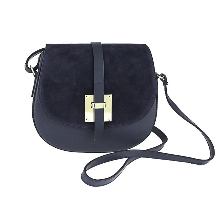 Kožená kabelka na rameno 942 modrá