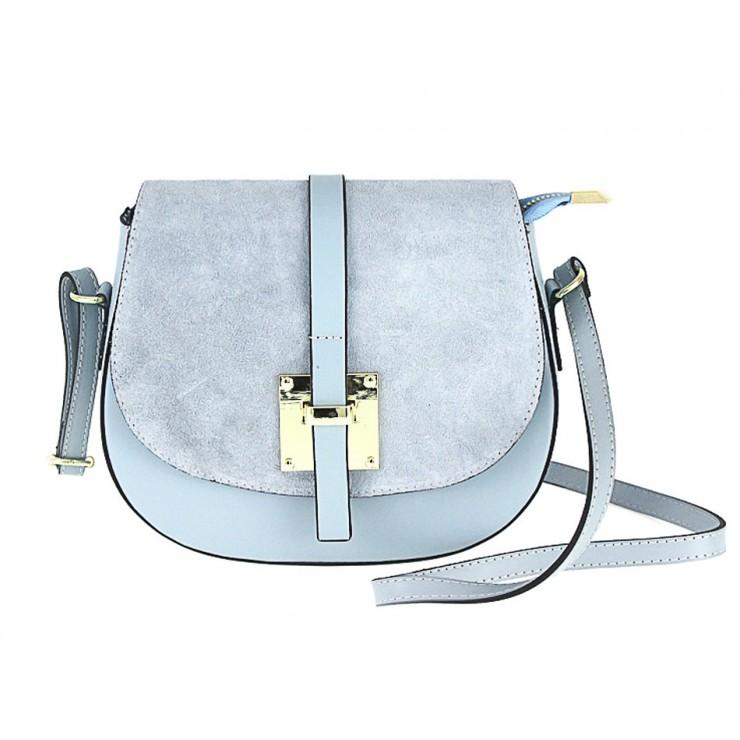 Genuine Leather Shoulder Bag 942 light blue