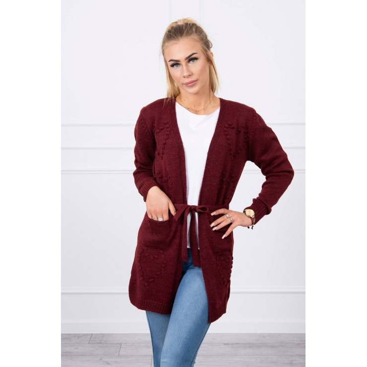 Women's sweater with hearts brown