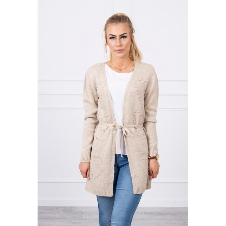 Women's sweater with hearts béžový
