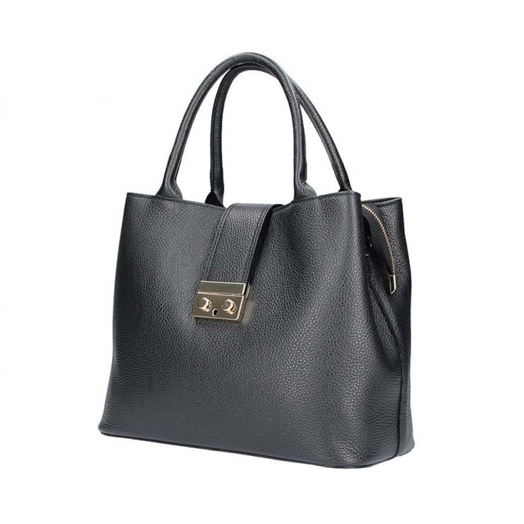 Čierna kožená kabelka 5307