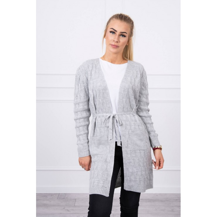Women's sweater with a braid gray