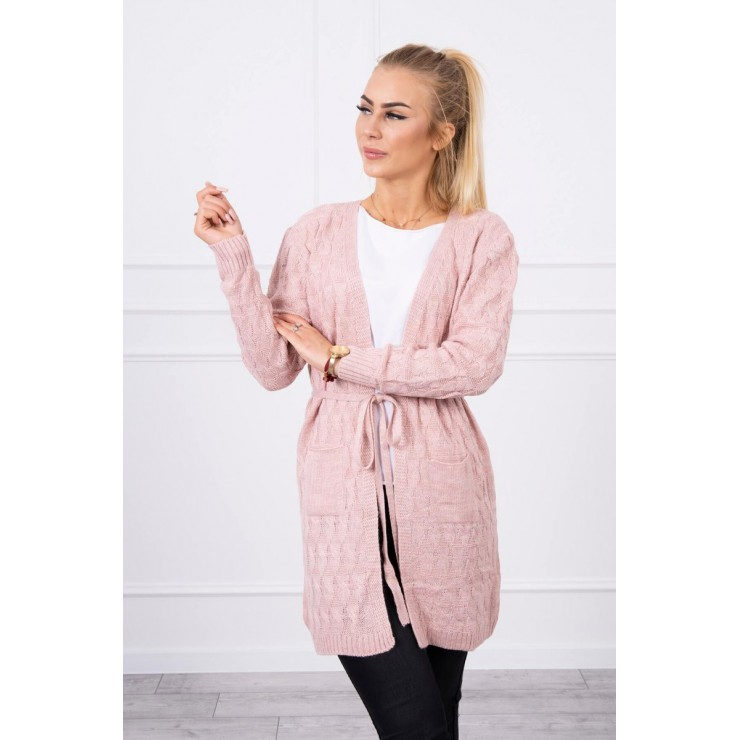 Women's sweater with a braid powder pink