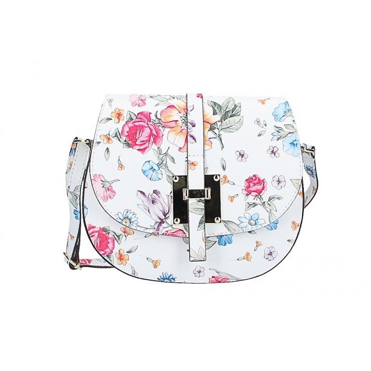 Genuine Leather Shoulder Bag 942 with flowers