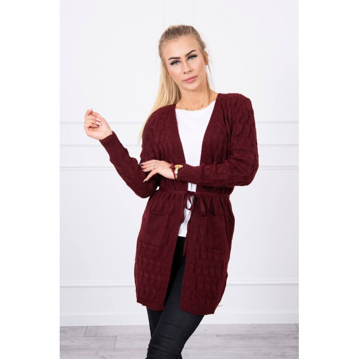 Women's sweater with a braid brown