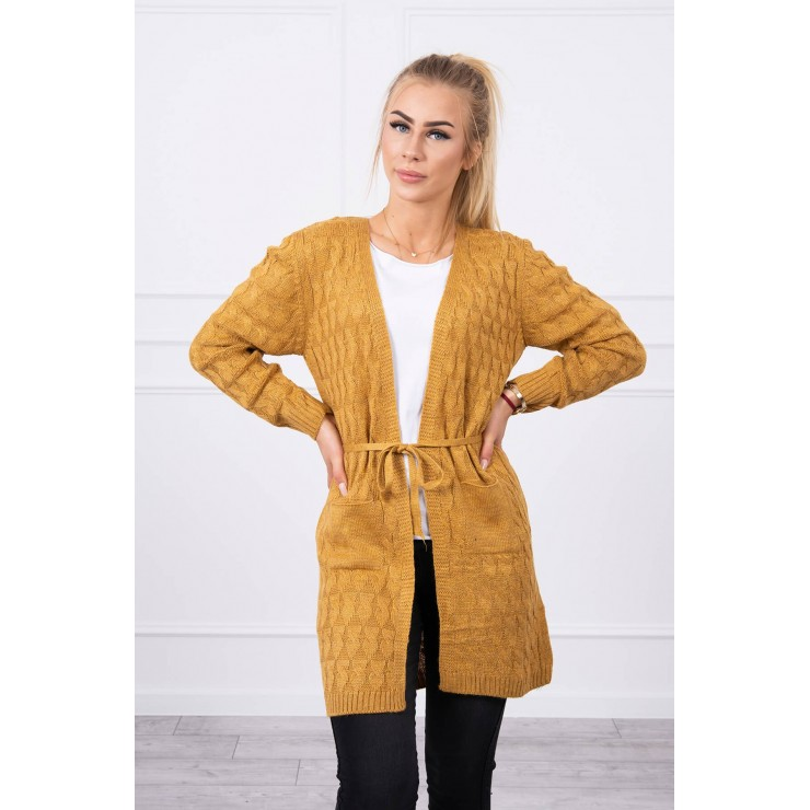 Women's sweater with a braid mustard