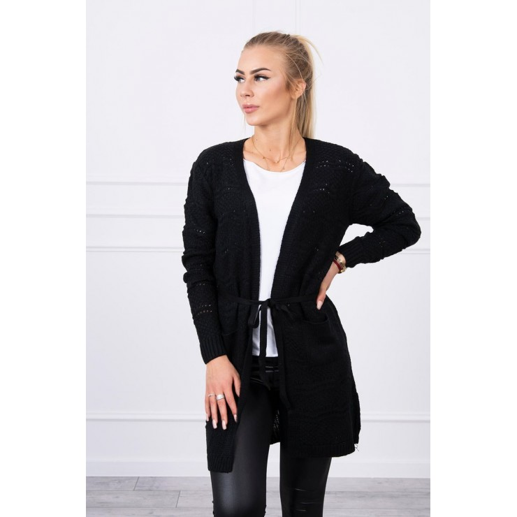 Women's sweater with waves black