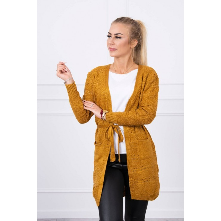 Women's sweater with waves mustard