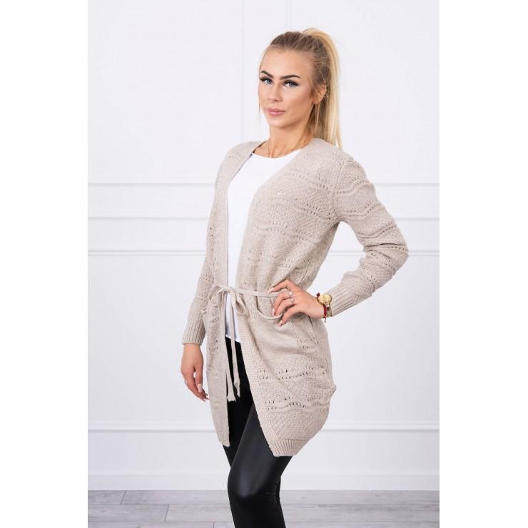 Women's sweater with waves beige