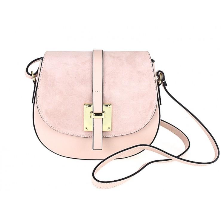 Kožená kabelka na rameno 942 ružová