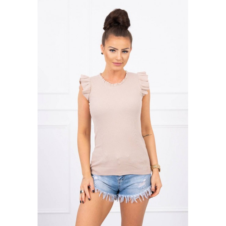 Women's T-shirt decorated with ruffles MI9092 beige