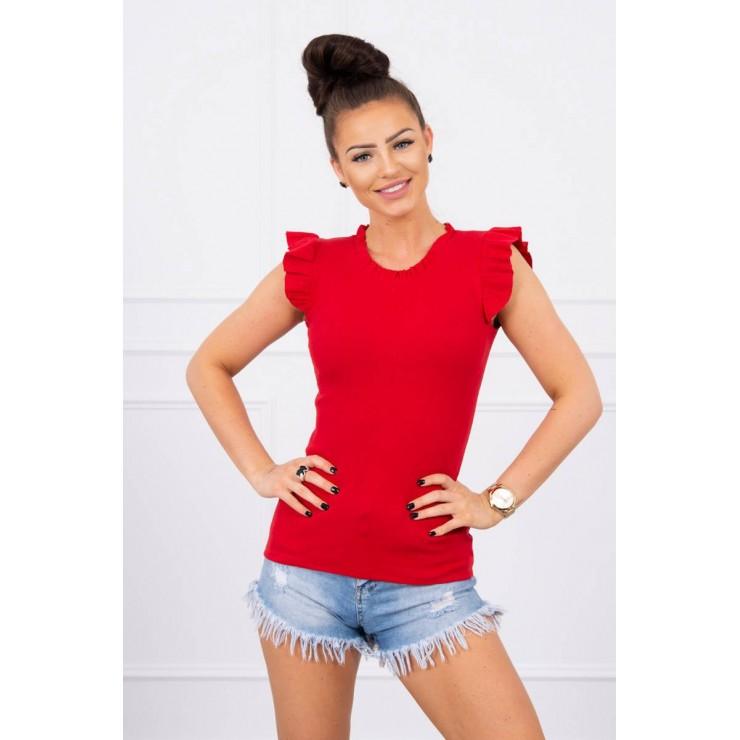 Dámské tričko zdobené volánky MI9092 rudé