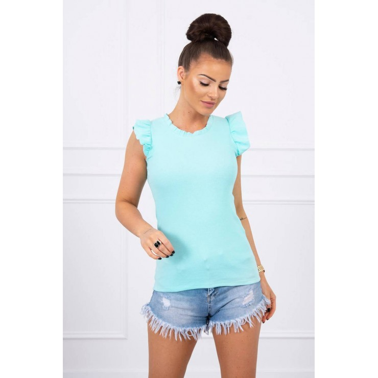 Women's T-shirt decorated with ruffles MI9092 mint
