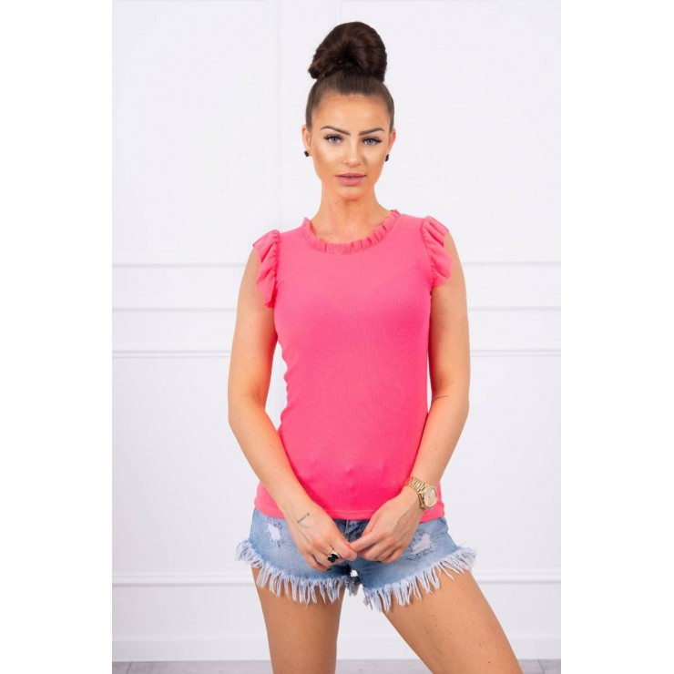 Women's T-shirt decorated with ruffles MI9092 pink neon