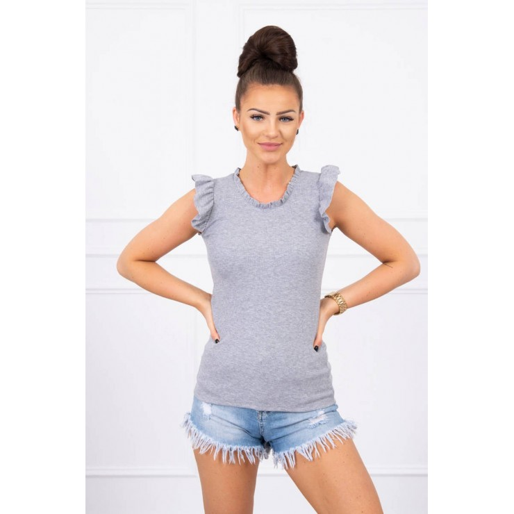 Women's T-shirt decorated with ruffles MI9092 gray